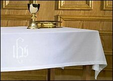 Altar Table Frontal Cloth with IHS Monogram LINEN NEW SKU MD040