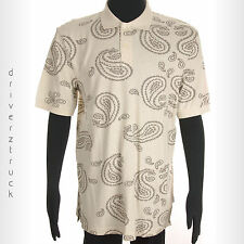 CHAPS by Ralph Lauren Mens NWOT Medium BEIGE Knit SHIRT with TAUPE Paisley Print