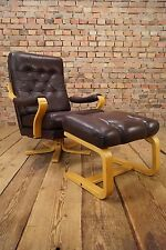 60s Retro EASY CHAIR DANISH LEATHER SWIVEL ARMCHAIR & OTTOMAN DENMARK Vintage