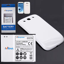6000mAh Extended Battery with White Back Cover for Samsung Galaxy S3 I9300
