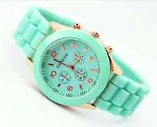 UNISEX GENEVA SILICONE JELLY GEL QUARTZ ANALOG SPORTS WRIST WOMEN GIRLS WATCH*