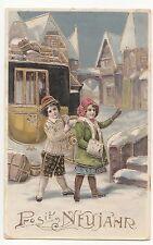 Ak Kinder mit Kutsche * Prosit Neujahr * gold - geprägt 1912 ! (A564