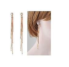 Rose Gold Filled Long Crystal Bead Tassel Earrings