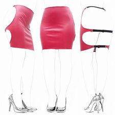 Wetlook Fetish PVC Style Faux Leather Backless Red Bondage Strap Spank Skirt