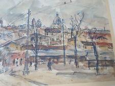 Daniel DOUROUZE 1874-1923-Aquarelle ancienne-1920-signée-Paris-watercolor