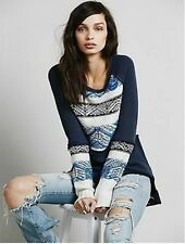 FREE PEOPLE NEW Snow Angel Top Shirt Pullover Sweatshirt in Indigo combo NWT  M