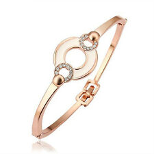 Rose Gold Bangle Bracelet Enamel Circle & Faux Diamond Inlay