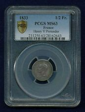 "FRANCE HENRI V ""PRETENDER"" 1833 SILVER 1/2 FRANC SILVER COIN CERTIFIED PCGS MS63"