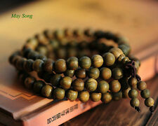 Fragrant Green Sandalwood 108 8MM Buddhist Prayer Bead Mala Necklace/Bracelet