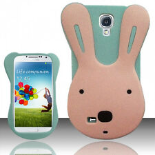 For Samsung Galaxy S4 S IV Rubber SILICONE Skin Soft Gel Case Cover Teal Rabbit
