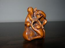 NETSUKE MONKEY APE MONKEYS APES FIGURINE BOXWOOD JAPANESE HANDCARVED SIGNED