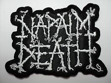 NAPALM DEATH WHITE SHAPED EMBROIDERED PATCH