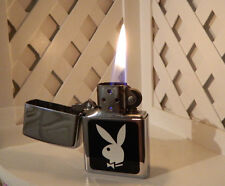 Polished Chrome PLAYBOY BUNNY Black & White 1999 Zippo Lighter - Tested & Works!
