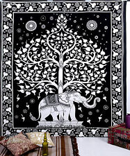 Elephant Tree Tapestry Wall Hanging Indian Hippie Bedspread Throw Ethnic Decor