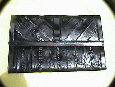 """Genuine eel skin black clutch with magnetic snap 12"""" patent leather trim purse"""