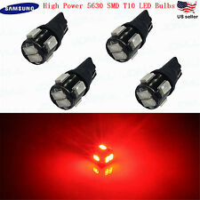 JDM ASTAR 4x T10 Red 194 168 Samsung 5630 SMD LED Car License Plate Light Bulbs