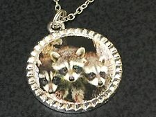 "Raccoon Siblings Charm Tibetan Silver with 18"" Necklace BIN A7"