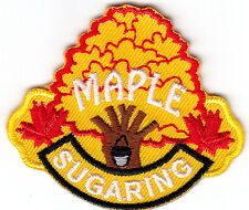 """MAPLE SUGARING""- IRON ON EMBROIDERED  PATCH/Food, Topping, Treat, Words"