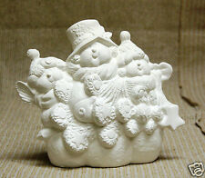Ceramic Bisque Snowmen with Tree Kimple Mold 3171 U-Paint Ready To Paint