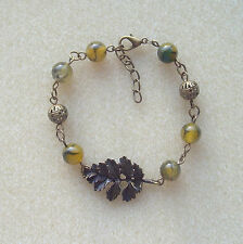 Bronze Leaf and Dragons Vein Agate Beads Bracelet in Gift Bag - Autumn Fall