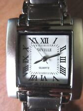 Quartz Movement Seville Silver Link Stainless Steel Square Roman Numeral Watch