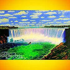 ORIGINAL PAINTING LARGE SIGNED ART COLLECTOR INVESTMENT LANDSCAPE NIAGARA FALLS