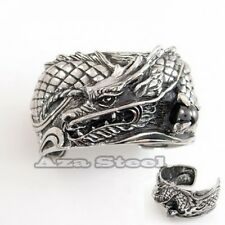 Men's Big Heavy King Dragon Pearl 316L Stainless Steel Bangle Cuff Bracelet