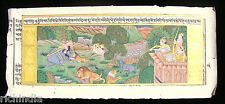 King Hunting Forest Old Manuscript Entique Painting History Art Handmade _AR287