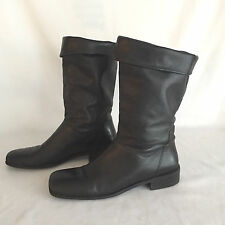 Naturalizer Black Soft Leather Mid Calf Low Heel Fashion Boots Size 10 Narrow