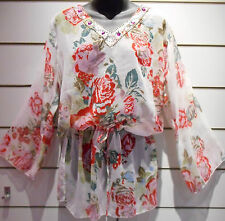 Top L XL White Pink Roses Floral Sequin Long Tunic Caftan Semi Sheer NWT BV75