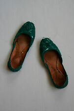Green Embellished Indian Flat Shoes UK3