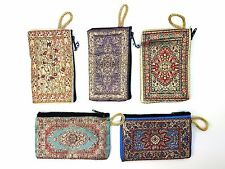 Set of 5 (five) Persian Rug Woven Carpet Design Make Up Bag Kilim Cosmetic Bag