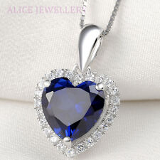 New Heart Blue Sapphire Topaz 925 Sterling Silver Pendant Chain Necklace Jewelry