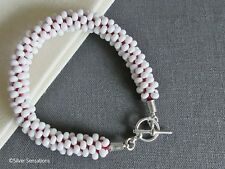 Red & White Braided & Woven Kumihimo Seed Bead Fashion Bracelet