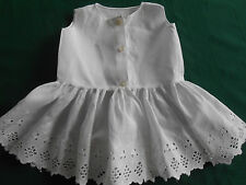 DOLL OR BABY PINAFORE, SNOW WHITE COTTON/OPEN WORK HAND EMBROIDERY VINTAGE 1930