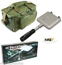NGT Bankside Sandwich Toaster Camping Toastie Maker + Green Carp Fishing Bag 537
