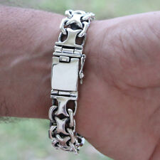 New Men Biker Heavy Wide Bracelet Solid Sterling Silver 925 Men's Size 19 cm 80g