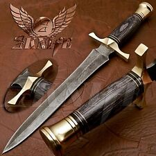 BEAUTIFUL CUSTOM HAND MADE DAMASCUS STEEL HUNTING DAGGER KNIFE HANDLE PAKKA WOOD