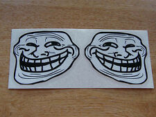 Troll Face Stickers - Black + White  - Pair of 75x65mm decals - Internet meme