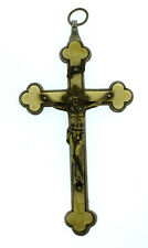 C.1900 VICTORIAN ANTIQUE CROSS PENDANT ITALY MOTHER OF PEARL BRONZE CRUCIFIX