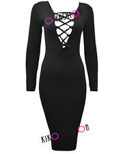 WOMENS DRESS LADIES RIBBED FRONT LACE TIE UP EYELET MIDI BODYCON PARTY DRESS