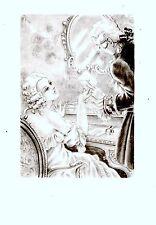 GRAVURE DE BRUNELLESCHI 20è EROTISME ART NOUVEAU FEMME ET HOMME PORTANT COURRIER