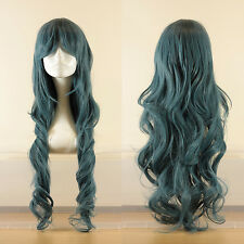 80cm long wavy curly cosplay wig in blue-grey, UK seller, Jeri style