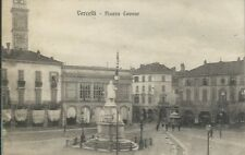 Cartolina di Vercelli - Piazza Cavour Animata - Viaggiata 1916