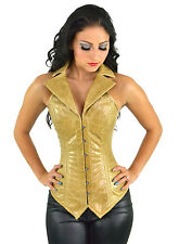 "STUNNING TAN REAL LEATHER STEEL BONED WAISTCOAT CORSET 22""-26"" RRP £100.00"