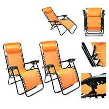 Lounge Chair Recliner Sun Patio Pool Beach Outdoor Folding Chair-1 Pair Orange
