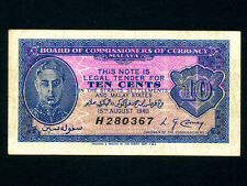 Malaya:P-2,10 Cents 1940 * King George VI * VF *