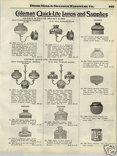 1924 PAPER AD 3 PG Coleman Quick Lite Lamp Wall Chandeliers Fancy Lantern Parts
