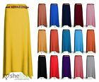 Women Gypsy Long Jersey Ladies Plain Belt Flared Elastic Waist Maxi Dress Skirt