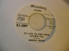 Herald White Fill Your Heart/Too Late To 45 RPM Stoneway Records VG+ rockabilly